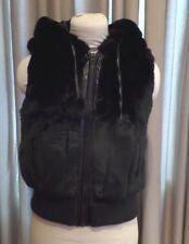 "Womans Juniors Black Faux Fur Vest with hood ""Red Fox"""