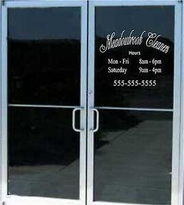 Custom Business Store Hours Sign Vinyl Decal Sticker 20x16 Window Door Glass