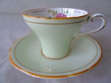 Vintage Aynsley Lime Green & Floral Pattern B4695 Corset Shape Tea Cup & Saucer