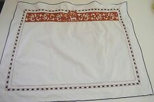 EXQUISITE VINTAGE LERON MADEIRA EMBROIDERED PILLOW SHAM WITH DEER SS481