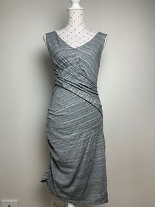 WITCHERY Size 12 Dress Stretch Body Con Grey Casual Party Lined