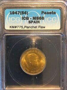 Spain 1 Peseta 1947 (54) MS66 ICG Aluminum-Bronze Coin KM #775 Planchet Flaw