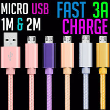 3a Micro USB Charging Woven Cable Fast Charge Mobile Samsung Sony HTC PC 1m & 2m
