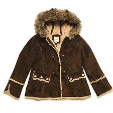 Esprit Coat Women's Large Faux Fur Nordic Boho Festival Jacket Brown Suede Look