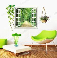Huge 3D Window View Green Forest Mural Wallpaper Art Decal Wall Stickers Decor