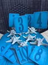 Turquoise Blue Starfish Beach Wedding Party Table Number Signs