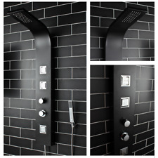 Thermostatic Black  Shower Column Tower Panel With Twin Heads Body Jets