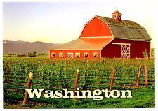 Washington Farmland Rustic Barn Postcard Field Crops Red New