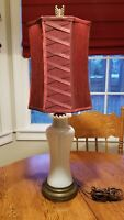 Vtg Fenton Opalescent Ruffle Rimmed Vase Table Lamp 27""