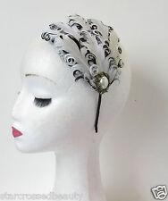 Noir Blanc Bronze Perle Plume Coiffe Charleston Vintage 1920s Headband Q73