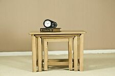 Watling solid oak furniture nest of three coffee tables