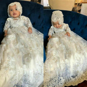 New Beaded Christening Gowns For Baby Girls Lace Applique Baptism With Bonnet