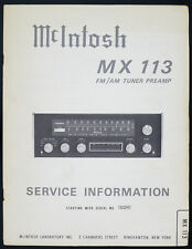 McIntosh mx-113 original FM/AM Sintonizzatore preamp Service-Manual/schema elettrico/diagram