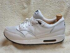 Nike Air Max 1 Essential Zapatillas para hombre Blanco/Negro De Cuero UK 9 EUR 44 US 10