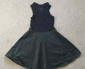 Lace And Faux Leather Skater Dress Gothic UK Women's Size 10