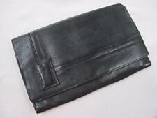 VINTAGE 1930's NAVY LEATHER CLUTCH PURSE HANDBAG
