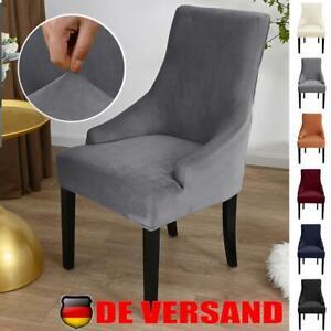 Stretch Samt Stuhlbezug Stuhlhusse Sitzbezug Sesselüberwurf Sesselbezug Husse DE