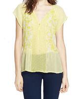 Joie Yellow 100% Silk Cap Sleeve Split Neck Blouse Sz L NEW $228