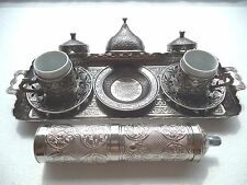 Authentique Antique Silver Turkish Coffee Espresso Set with Silver Grinder Acar