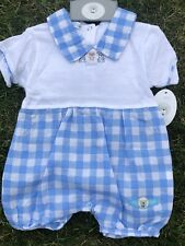 Baby Boys Spanish All in One Romper Blue Gingham Newborn 0-3 3-6 Mth 100% Cotton