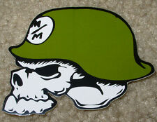 "METAL MULISHA Green Skull Helmet Skate Sticker 3"" motocross skateboard decal"