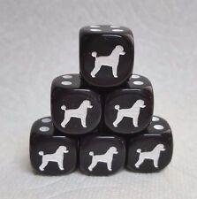 DICE>>*6/SET* CHESSEX CUSTOM POODLES ON 16mm OPAQUE BLACK w/WHITE DOG #1 & PIPS