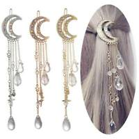 Moon&Crystal Rhinestone Beads Dangle Hairpin Hair Clip Bridal Women Jewelry Gift