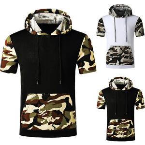 Mens Summer Short Sleeve Shirt Hoodie Gym Sports Fitness Jumper Pullover Tops Sh