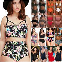 Plus Size Womens High Waist Padded Bikini Set Push Up Swimsuit Beach Swimwear