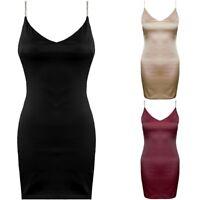 Satin Strappy Diamante V Neck Cami Slip Bodycon Mini Evening Silk Party Dress