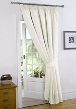 CREAM / Natural 66'' x 84'' Thermal Blackout Curtains Pencil Pleat Door Curtain