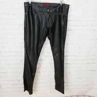 Tripp NYC Faux Leather Pants Slim Cut Skinny Fit Black Mens Size 36