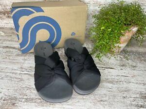 Clarks Women's Cloudsteppers Arla Dristi Jersey Black Slide Sandals Size 7.5 M