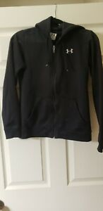 Women's Under Armour Jacket Small Zip Up Athletic Black Hoodie