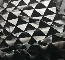 "Burnout Silk VELVET Fabric BLACK TRIANGLES 45"" by the yard"