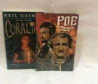 Two graphic novel lot  CORALINE - POE Mitchell, Gaiman