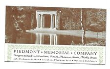 1930s Ink Blotter ~ Piedmont Memorial Company ~ Oakland, California
