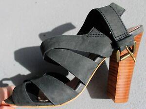 RMK Black Size 37 Leather strappy summer sandal, wooden heel, Lauralee