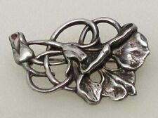 Style Flower Pin Brooch- No Reserve! Vintage 925 Sterling Silver Art Nouveau