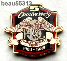 HARLEY DAVIDSON OWNERS GROUP HOG 5th ANNIVERSARY 1983-1988 VEST JACKET PIN