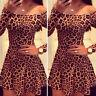 Vestido De Fiesta Las Mujeres Manga Larga Corto Mini Leopardo