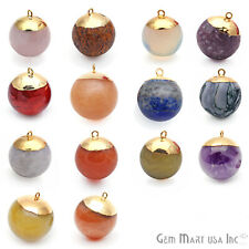 Round Ball Pendant Single Bail Connector Gold Electroplated Gemstone Round Charm