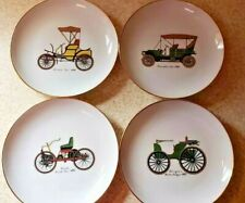 "Naaman Israel White Bread Porcelain Old Car Plates 7.5"" Set of 4"