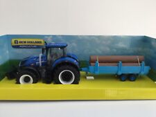 BURAGO 44068 1:32 NEW HOLLAND T7 HD TRACTOR & LOG TRAILER TOY FARM NOT BRITAINS