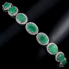 PRECIOUS NATURAL OVAL 7x5mm. TOP RICH GREEN EMERALD 925 SILVER BRACELET