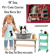 "18"" Doll Pet GROOMING SALON for American Girl Dog Cat Table Bathtub Accessories"