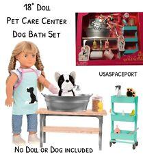 "18"" Doll GROOMING SALON Set Pet Dog Cat Groomer Vet Our Generation American Girl"