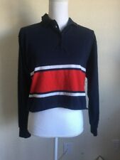 Brandy Melville Navy/Bianco/ a Righe Rosse con Colletto 1/4 Bottoni a Polo Jonny