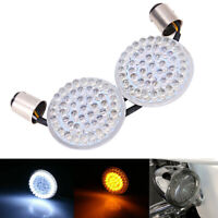 "Bullet-style White/Amber 1157 2"" LED Turn Signal Running Light Insert For Harley"