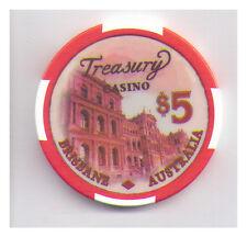 $5 Treasury Casino - Brisbane - Casino Chip - Cursive Treasury Writing